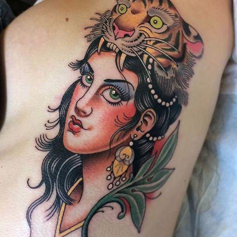 Tiger lady. (via IG - dannyderrick) #DannyDerrick #Traditional #TraditionalLady