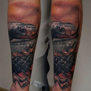 Photo realistic snake tattoo by James Artink. #realism #colorrealism #JamesArtink #reptile #snake
