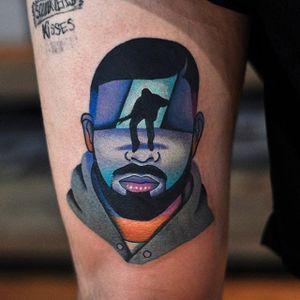 Drake tattoo by David Cote. #DavidCote #semiabstract #trippy #psychedelic #popculture #drake #hotlinebling