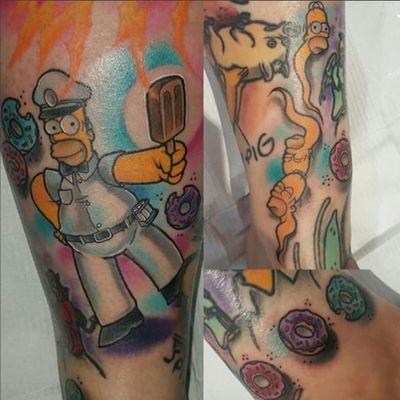 Part of an in progress Simpsons sleeve. (Via IG - justinhodsontattoos) #thesimpsons