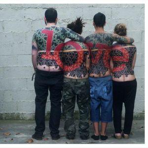 Little Swastika creates tattoos across multiple bodies #backpiece #LittleSwastika #abstract #avantgarde