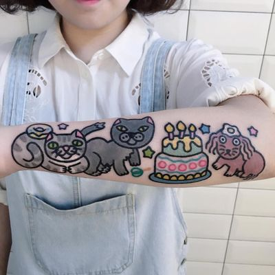 Party time tattoo by Pikkacoolcool #Pikkacoolcool #desserttattoos #color #newtraditional #newschool #cartoon #graphic #popart #cake #cat #kitty #dog #animals #egg #donut #stars #food #foodtattoo #cute