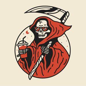 De boas tomando um suco enquanto levo umas almas #ceifeiro #ceifeirotattoo #reapertatto #reaper #grimreaper #morte #death #skull #caveira