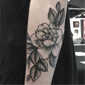Flower tattoo by Clarisse Amour #ClarisseAmour #blackwork #botanical #flower #btattooing #blckwrk