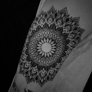 A perfect mandala from Manuel Zellkern's (IG—zellkern) portfolio. #blackwork #exquisite #intricate #geometric #mandala #ManuelZellkern #ornamental
