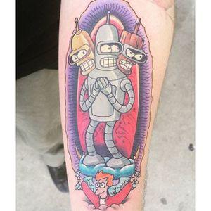 Bender Tattoo by Troy Johnson #Bender #Futurama #robot #cartoon #TroyJohnson