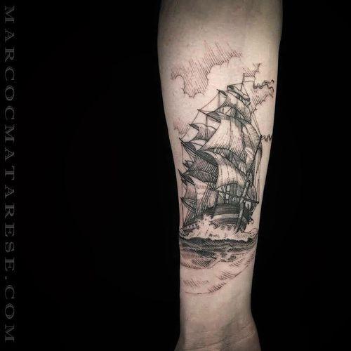 Ship tattoo #ship #MarcoMatarese #engraving #bw