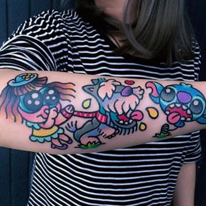 Baby, Dog and Stitch tattoo by @pikkapimingchen #cartoonstyle #cartoon #neotraditional #bright_and_bold #baby #dog #liloandstitch #LiloandStitch