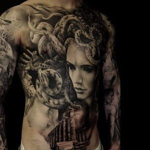 Medusa tattoo by Florian Karg #Florian Karg #trashstyle #trashart #trash #trashpolka #realistic #dark #horror #graphic #medusa