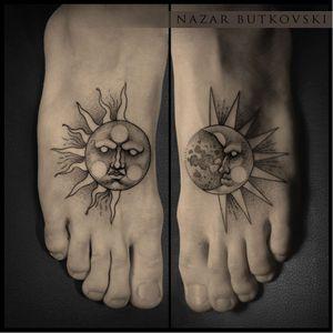 Sun and moon tattoos by Nazar Butkovski #NazarButkovski #engraving #blackwork #science #sun #moon