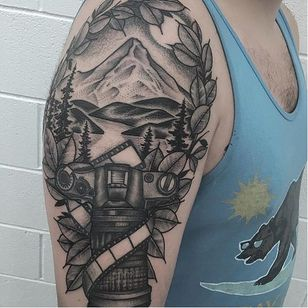 Photography tattoo by Kyle Stacher. #photography #camera #photo #photographer #contemporaryart #blackandgrey
