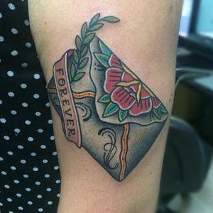 Envelope Tattoo by @soniatattoolady #Envelope #Letter #Traditional #loveletter #GapFiller #SoniaTattooLady