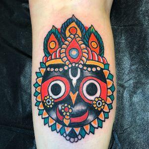 Tattoo by Robert Ryan #RobertRyan #color #traditional #Hindu #surreal #universe #JaiJagannath #portrait #crown #deity #god
