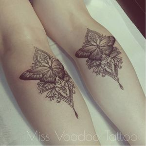 Matching butterfly tattoso by Miss Voodoo #MissVoodoo #ornamental #lace #mehndi #chandelier #feather #butterfly #matching
