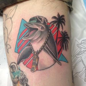 80s dolphin tattoo by The Leisure Bandit. #neotrad #80s #dolphin #neotraditional #TheLeisureBandit #BrodiePedersen