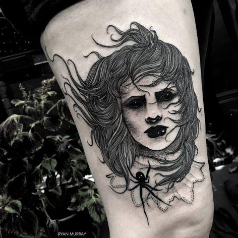 Blackwork woman tattoo by Ryan Murray. #RyanMurray #blackwork #dark #macabre #blackveilstudio #woman #blackeyes