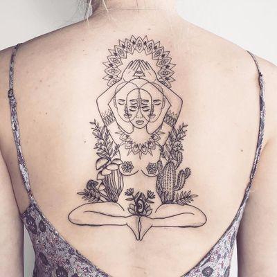Sun Salutations by T Radz #tradz #linework #sun #thirdeye #portrait #lady #mushrooms #cactus #flowers #mandala #pattern #sun #newtraditional #tribal #minimal #tattoooftheday