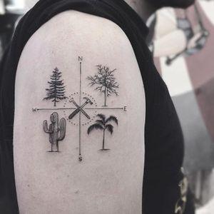 Fine line tattoo by Karry Ka-Ying Poon. #KarryKaYingPoon #Poonkaros #fineline #blackandgrey #pointillism #tree #travel