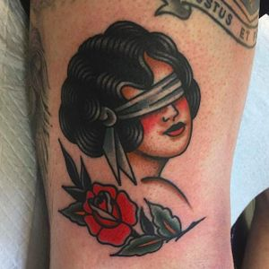 Rad blind-folded girl with classic rose. Tattoo by Jaclyn Rehe. #JaclynRehe #ChapelTattoo #traditional #girl #girlhead #girlsgirlsgirls #blindfoldedlady #rose