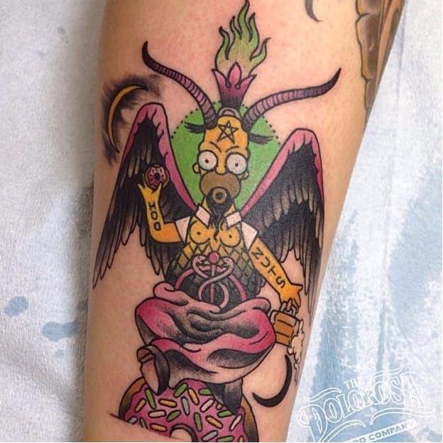 Baphomer Simpson tattoo by Christina Hock. ChristinaHock #DolorosaTattooCo #donut #baphomet #homersimpson #simpsons #thesimpsons #tv #cartoon