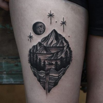 Tattoo by Franco Maldonado #FrancoMaldonado #blackandgrey #illustrative #newtraditional #darkart #surreal #landscape #Linework #mountains #lake #fishing #boat #forest #waterfall #space #moon #stars