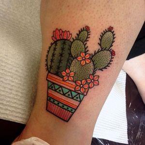 Cute cactus tattoo by Miss Quartz. #traditional #cute #MissQuartz #botanical #cactus