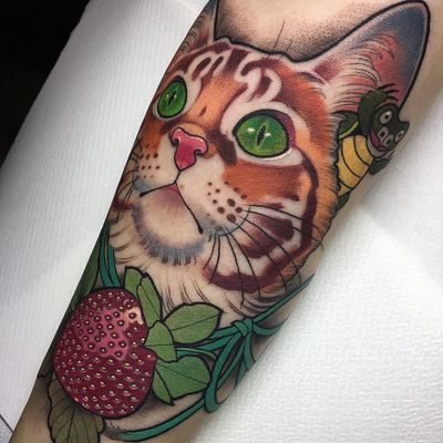 Cat and strawberry tattoo by Aniela Dahlgren #AnielaDahlgren #petportraittattoo #color #newtraditional #realism #realistic #mashup #cat #kitty #strawberry #fruit #turtle #pet #animal #nature #tattoooftheday