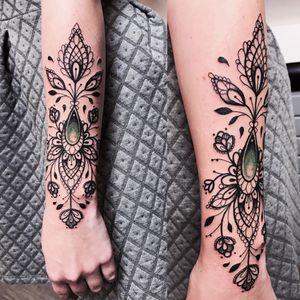 Elegant tattoo by Falukorv #Falukorv #ornamental #lace #jewel #flower