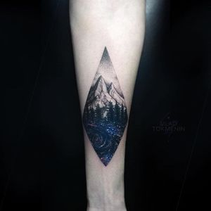 The universe flows through this valley by Vlad Tokmenin (IG—vt_tattoo). #galactic #landscape #mountains #realism #space #VladTokmenin