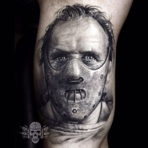 The Cannibal Tattoo by Javier Antunez @Tattooedtheory #JavierAntunez #Tattooedtheory #Blackandgrey #Realistic #Cannibal #Cannibaltattoo