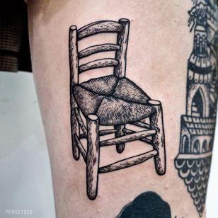 Van Gogh's chair. Tattoo by Bobby aka Monkeybob Tattoo #Monkeybob #VanGoghtattoo #blackwork #VanGogh #stilllife #illustrative #painting #chair #linework #fineart