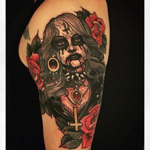 One of Uncle Allan's brutal black metal tattoos. #UncleAllan #metal #blackmetal #neotraditional
