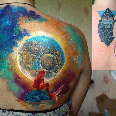 Nika Samarina #NikaSamarina #coverups #coberturas #lua #moon #sereia #mermaid #aquarela #watercolor