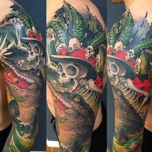 Gator and skull tattoo #Logan #BarracudaTattoo #skulltattoo #skull #alligatortattoo #newschool