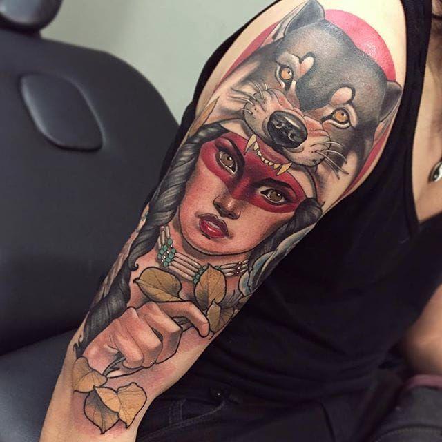 Woman with animal headdress portrait tattoo by Mimi Madriz. #MimiMadriz #neotraditional #portrait #popculture #woman #animal #headdress