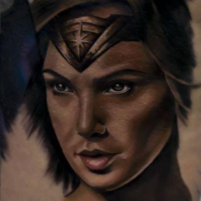 A realistic depiction of Wonder Woman in progress by Uliano Carlo (IG—uliano_carlo). #comicbookcharacters #DC #GalGadot #portraiture #realism #WonderWoman