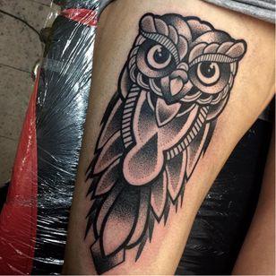 Owl tattoo by Annmarie Cahill #AnnmarieCahill #blackwork #dotwork #mandala #owl