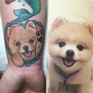 A super-fluffy pastel pomeranian and heart tattoo by @tattoosbyjaclyn. #dog #heart #pastel #pomeranian #tattoosbyjaclyn #neotraditional