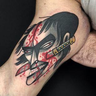 Namakubi tattoo by Leonardo Borri #LeonardoBorri #namakubitattoo #color #blackandgrey #redink #sword #samuraisword #newtraditional #abstract #severedhead #death #portrait #man #blood #bloodsplatter #tattoooftheday