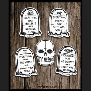 Skull and Grave stickers by Mr Heggie. #mrheggie #art #gravestone