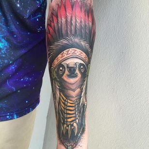 Chief Sloth Tattoo by Eddie Stacey #sloth #slothtattoo #slothtattoos #slothdesign #funtattoos #EddieStacey