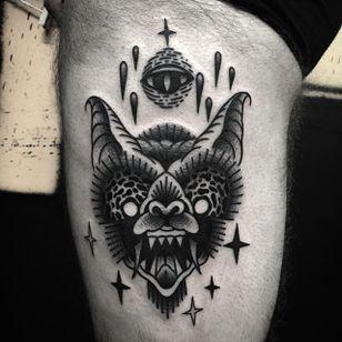Bat Tattoo by Jaffa Wane #bat #battattoo #blackwork #blackworktattoo #blackworkartist #darkart #JaffaWane