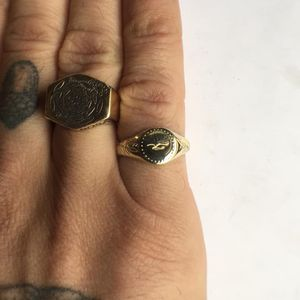 Pinky signet in 14k gold from the Digby & Iona x Slowerblack collaboration (photo via Aaron Ruff) #digbyandiona #slowerblack #JennaBouma #jewelry #tattooinspired