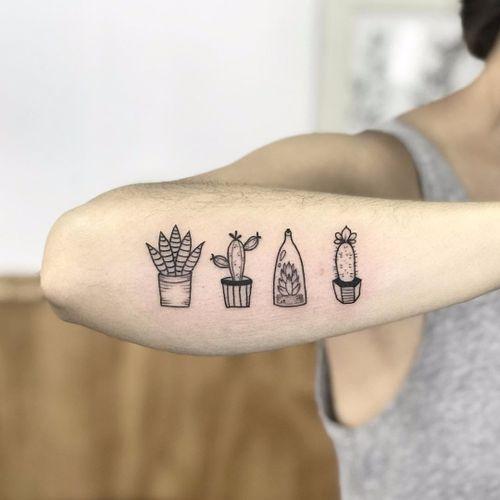 Succulent Tattoo by Polilla #Polilla #blackwork #linework #minimal #smalltattoo #fineline #cactus #cacti #desert #desertlife #succulent #plants #nature #pottedplants #glass #tattoooftheday