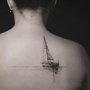 A gorgeous blackwork sailboat by Nadi (IG—tattooer_nadi). #abstract #blackwork #freeform #illustrative #Nadi #sailboat