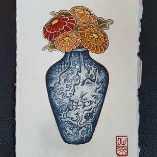 Dragon Vase by Jan Willem #japanese #traditionaljapanese #irezumi #JanWillem