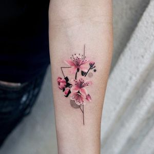 Cherry blossom by Trudy #Trudy #cherryblossom #flower #color #minimalistic #tattoooftheday