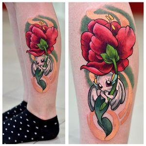 Floette tattoo by Cam-miyu  #Cammiyu #geek #kawaii #floette #pokemon