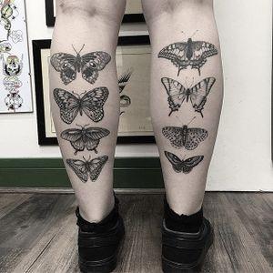 Butterflies by Barb Rebelo #BarbRebelo #butterfly #blackandgrey #tattoooftheday
