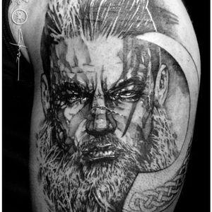 Viking tattoo by Dan Chase #DanChase #blackandgrey #viking #art